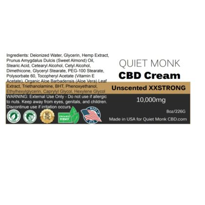 ingredients for 10,000mg cbd cream
